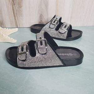 New! Black and Silver Rhinestone Buckle Crocs